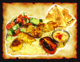 White meat chicken kabob on a of basmati rice, side of hummus, dill-cucumber salad, grilled tomato, & warm pita bread.